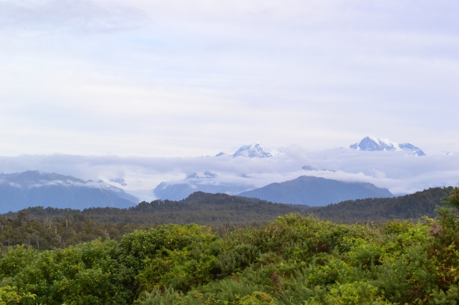 View of the Southern Alps (plus cloud) from the Tasman