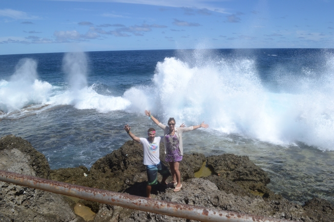 The Blowholes - the sea smashes into the coastline on the south side of Tongatapu Island. Absolutely terrifying..!