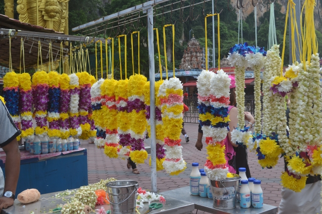 Some of the flower garlands sold on the streets which can be bought as temple offerings