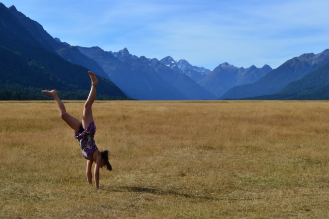 Doing a victory handstand because the scenery was SO GOOD!
