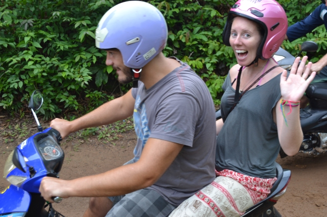 Kylie and Joe on the bike