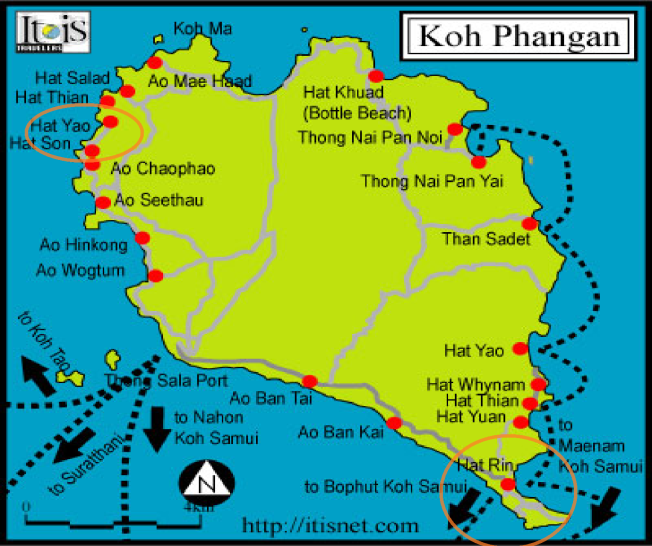 Look for the two red circles - First stop: Hat Rin (South East peninsula), Second stop: Hat Yao, (North West)