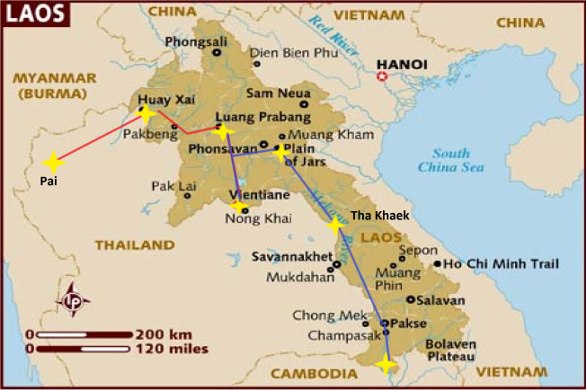Laos map mark 2. Follow the blue line
