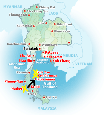 Map Of Thailand Cities And Islands