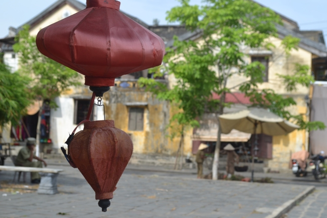Lanterns and a typical street by the river