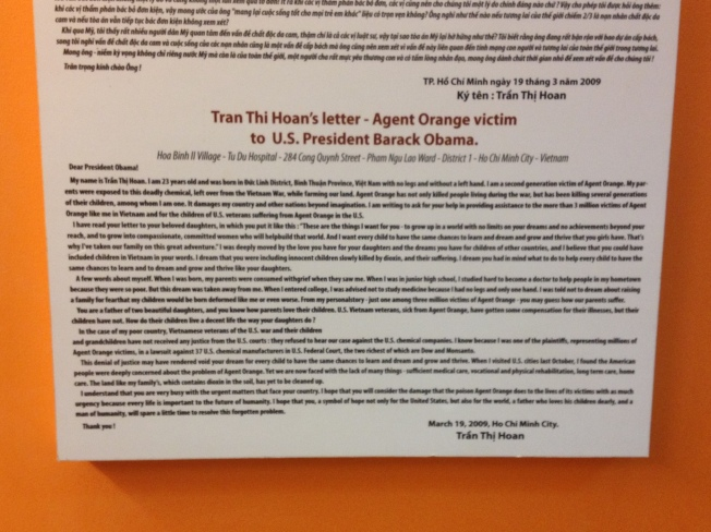 I don't know if you can read this, but this is a letter from one of the Agent Orange victims to Barak Obama.