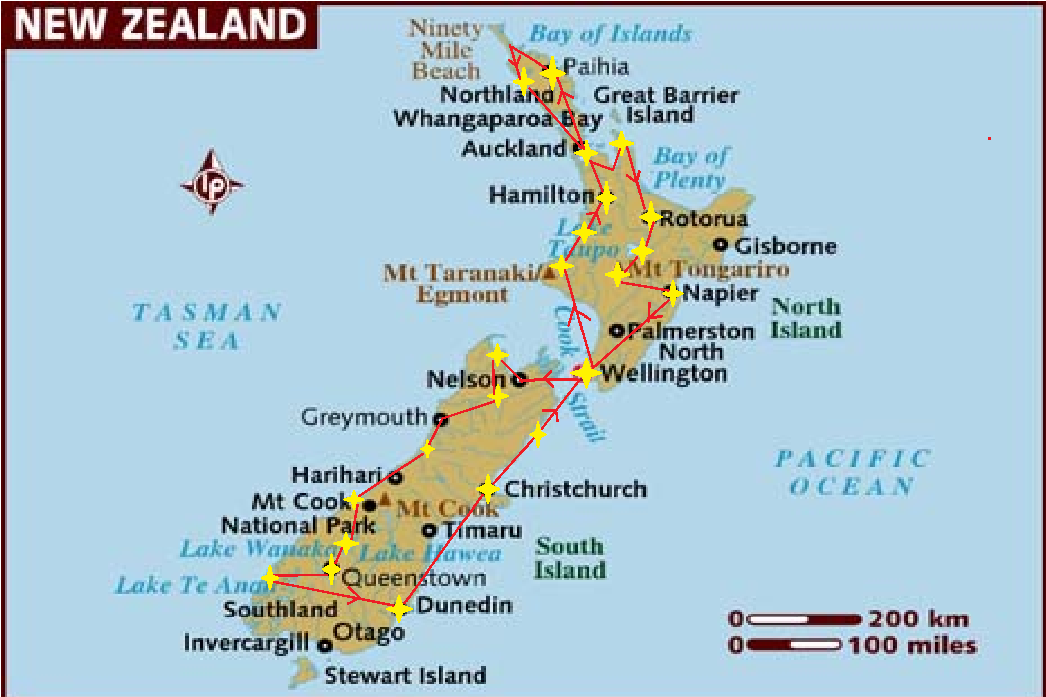 Pacific Islands – New Zealand Tourist Map